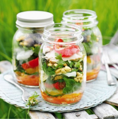 Salade in potten